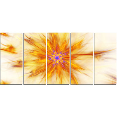 Designart Shining Yellow Exotic Fractal Flower Floral Canvas Art Print - 5 Panels