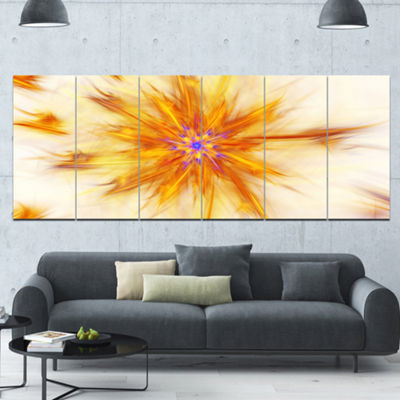 Designart Shining Yellow Exotic Fractal Flower Floral Canvas Art Print - 6 Panels
