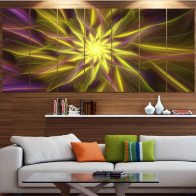 Designart Shining Golden Exotic Fractal Flower Floral Canvas Art Print - 7 Panels