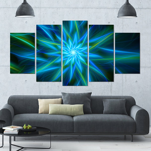 Design Art Shining Turquoise Exotic Flower Large Floral Canvas Art Print - 5 Panels