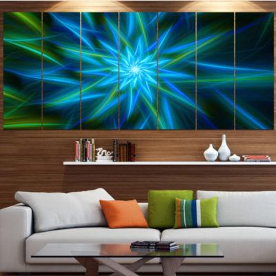 Designart Shining Turquoise Exotic Flower FloralCanvas Art Print - 7 Panels