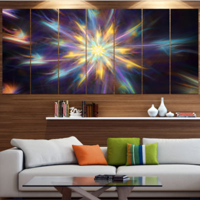 Designart Shining Multi Color Exotic Flower FloralCanvas Art Print - 6 Panels