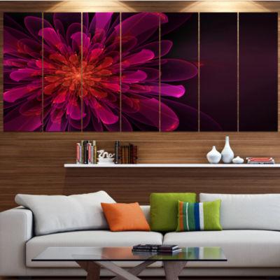 Designart Large Pink Alien Fractal Flower FloralCanvas Art Print - 4 Panels