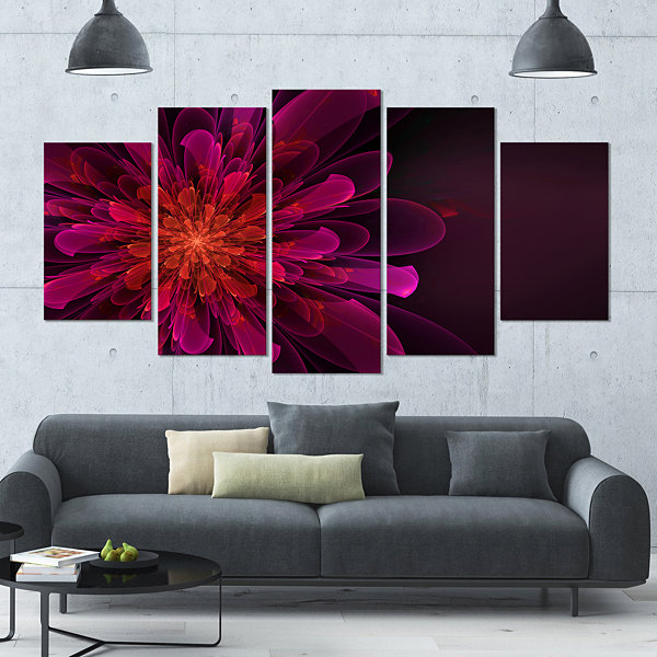 Designart Large Pink Alien Fractal Flower Large Floral Canvas Art Print - 5 Panels