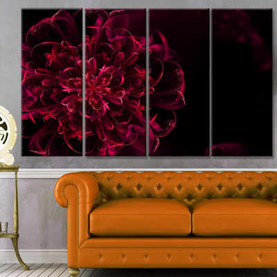 Designart Large Red Alien Fractal Flower Floral Canvas Art Print - 4 Panels