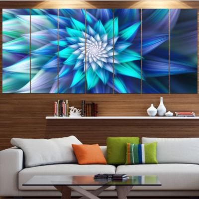 Designart Large Blue Alien Fractal Flower Large Floral Canvas Art Print - 5 Panels