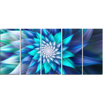 Designart Large Blue Alien Fractal Flower FloralCanvas Art Print - 5 Panels