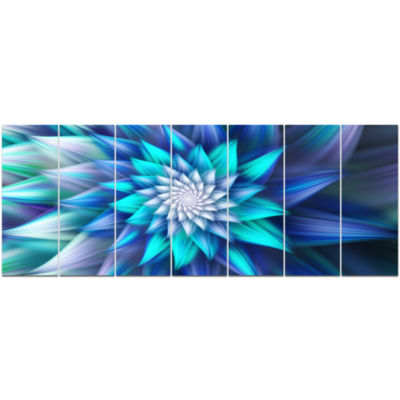 Large Blue Alien Fractal Flower Floral Canvas ArtPrint - 7 Panels