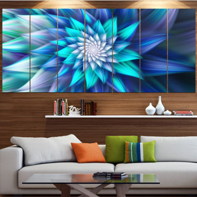Designart Large Blue Alien Fractal Flower FloralCanvas Art Print - 7 Panels