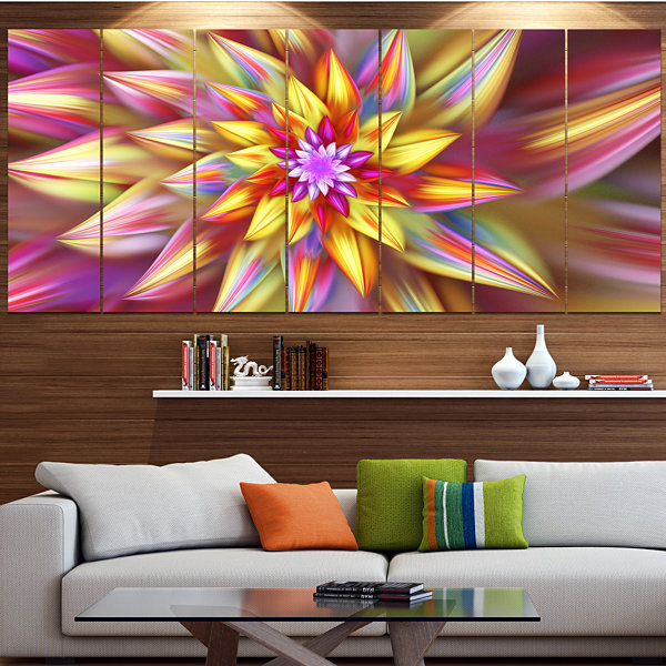 Design Art Large Multi Color Alien Fractal FlowerFloral Canvas Art Print - 7 Panels
