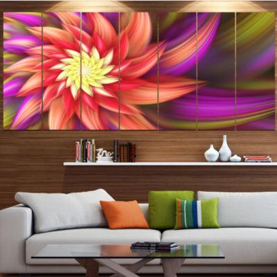 Designart Large Red Purple Alien Flower Floral Canvas Art Print - 4 Panels