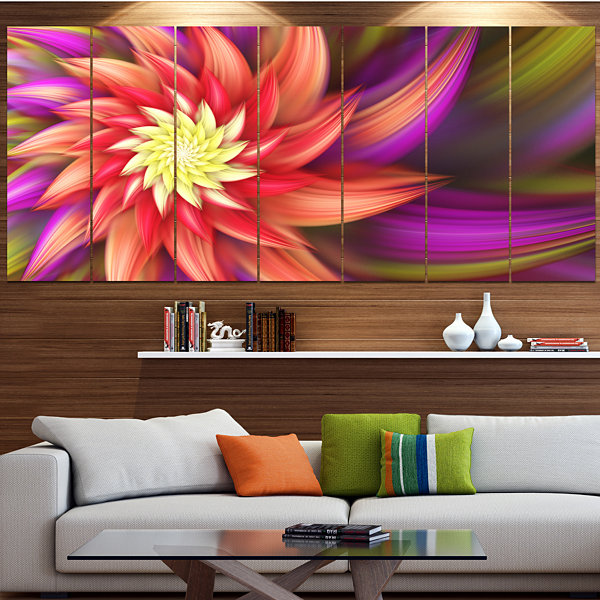 Designart Large Red Purple Alien Flower Floral Canvas Art Print - 7 Panels