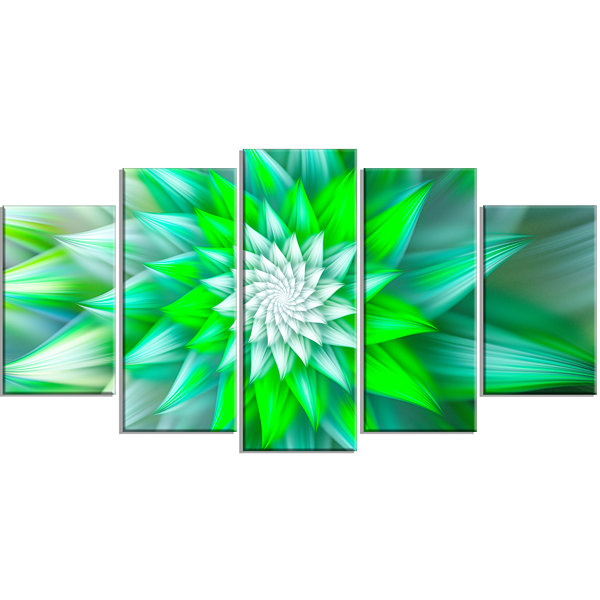 Design Art Large Green Alien Fractal Flower LargeFloral Canvas Art Print - 5 Panels