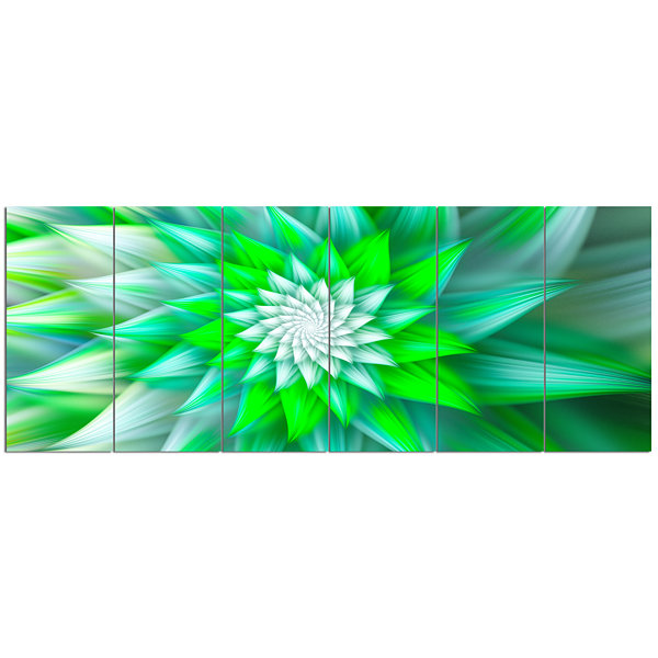 Designart Large Green Alien Fractal Flower FloralCanvas Art Print - 6 Panels