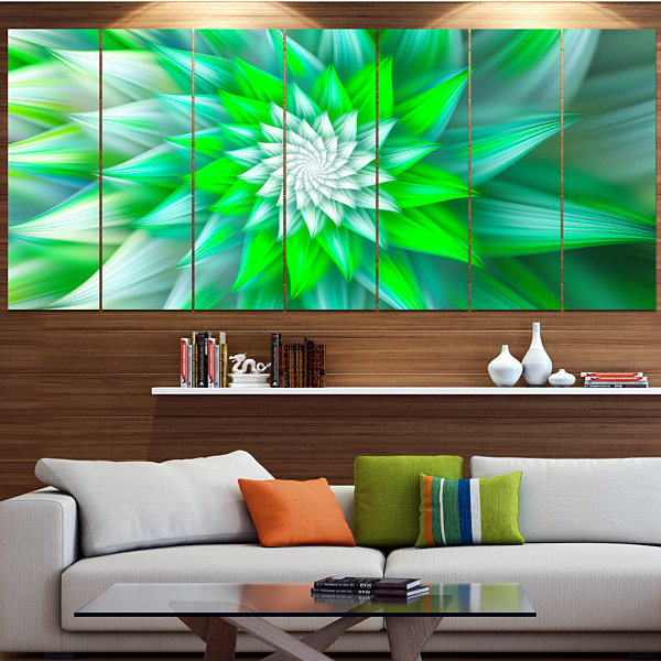 Designart Large Green Alien Fractal Flower FloralCanvas Art Print - 7 Panels