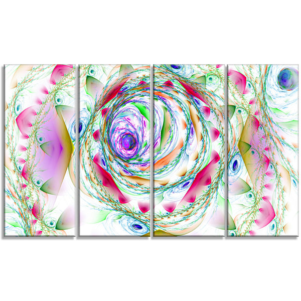 Designart Multi Color Exotic Flower Whirlpool Floral Canvas Art Print - 4 Panels