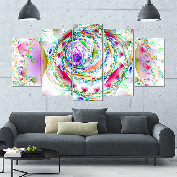 Designart Multi Color Exotic Flower Whirlpool Large Floral Canvas Art Print - 5 Panels