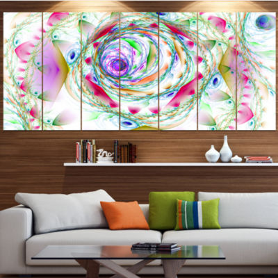 Designart Multi Color Exotic Flower Whirlpool Floral Canvas Art Print - 5 Panels