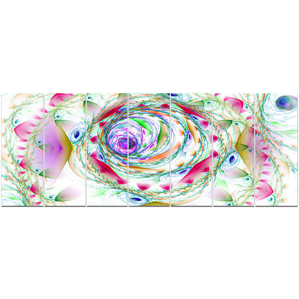 Design Art Multi Color Exotic Flower Whirlpool Floral Canvas Art Print - 7 Panels