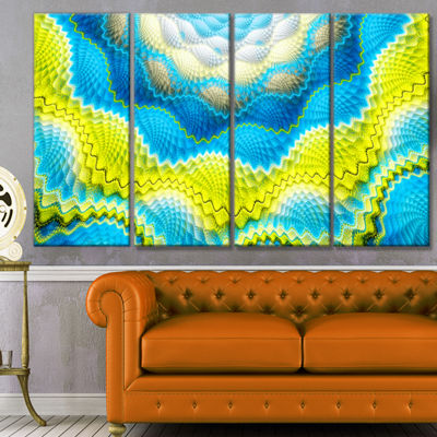 Designart Blue Yellow Spiral Snake Skin Floral Canvas Art Print - 4 Panels
