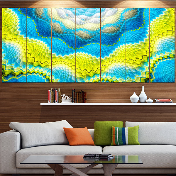 Designart Blue Yellow Spiral Snake Skin Floral Canvas Art Print - 5 Panels