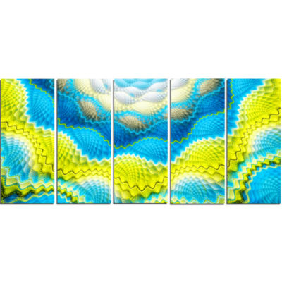 Blue Yellow Spiral Snake Skin Floral Canvas Art Print - 5 Panels