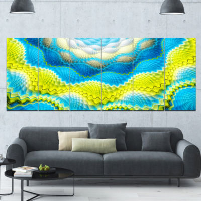 Blue Yellow Spiral Snake Skin Floral Canvas Art Print - 6 Panels