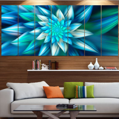 Designart Huge Blue Fractal Flower Floral CanvasArt Print -6 Panels