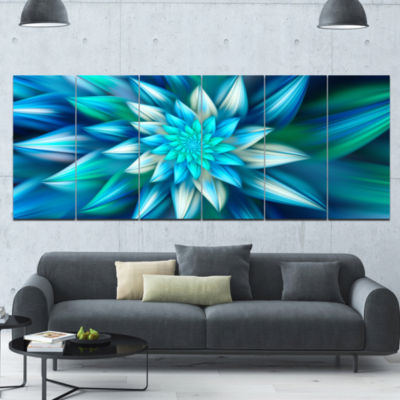 Huge Blue Fractal Flower Floral Canvas Art Print -6 Panels
