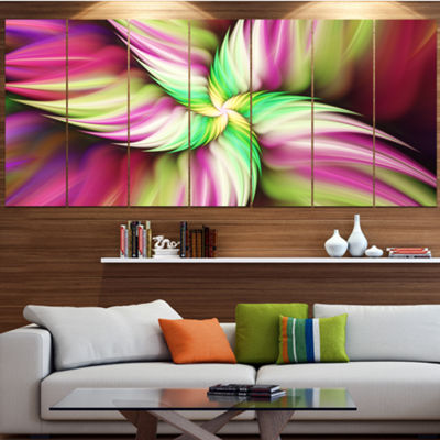 Designart Huge Rotating Pink Flower Floral CanvasArt Print- 4 Panels