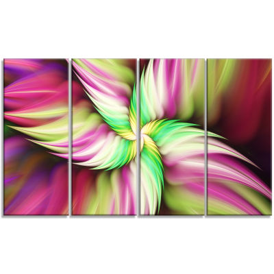 Huge Rotating Pink Flower Floral Canvas Art Print- 4 Panels