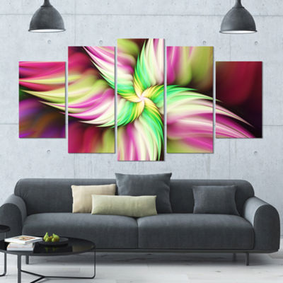 Designart Huge Rotating Pink Flower Large FloralCanvas Art Print - 5 Panels