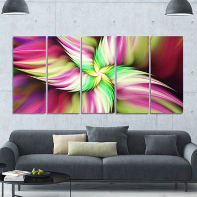 Designart Huge Rotating Pink Flower Floral CanvasArt Print- 5 Panels