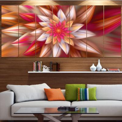 Huge Red Fractal Flower Floral Canvas Art Print -4 Panels