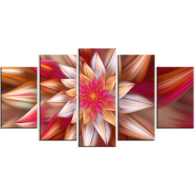 Huge Red Fractal Flower Large Floral Canvas Art Print - 5 Panels