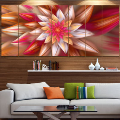 Designart Huge Red Fractal Flower Large Floral Canvas Art Print - 5 Panels