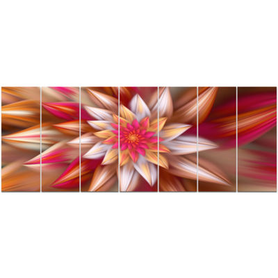 Designart Huge Red Fractal Flower Floral Canvas Art Print -7 Panels