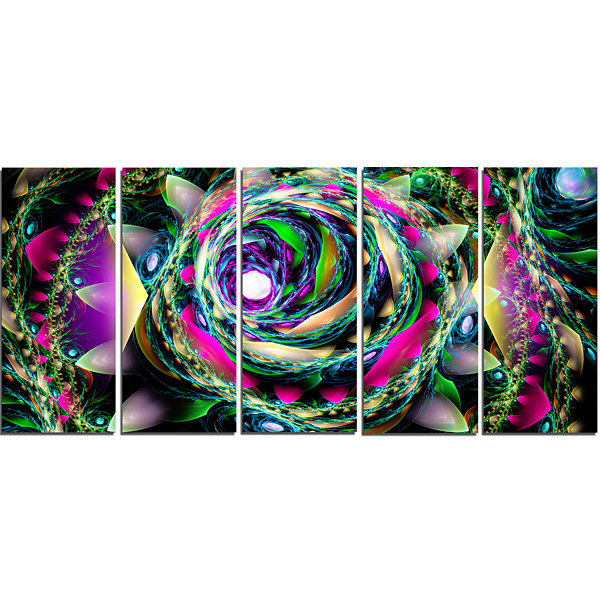 Designart Colorful Exotic Whirlpool Flower FloralCanvas Art Print - 5 Panels