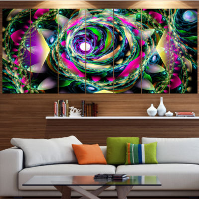 Designart Colorful Exotic Whirlpool Flower FloralCanvas Art Print - 6 Panels