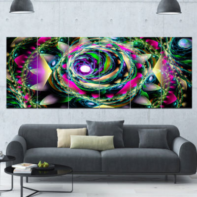 Colorful Exotic Whirlpool Flower Floral Canvas ArtPrint - 6 Panels