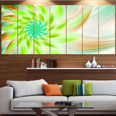 Designart Huge Bright Green Fractal Flower FloralCanvas Art Print - 4 Panels