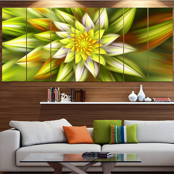 Design Art Huge Yellow Fractal Flower Floral Canvas Art Print- 4 Panels