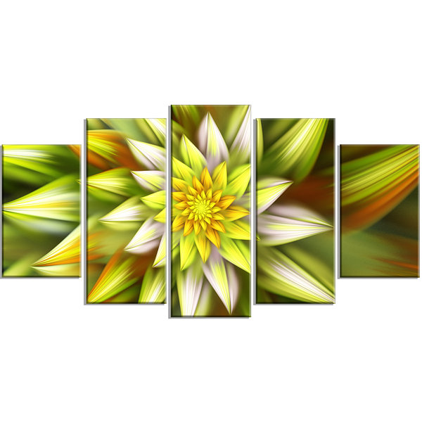 Designart Huge Yellow Fractal Flower Large FloralCanvas Art Print - 5 Panels