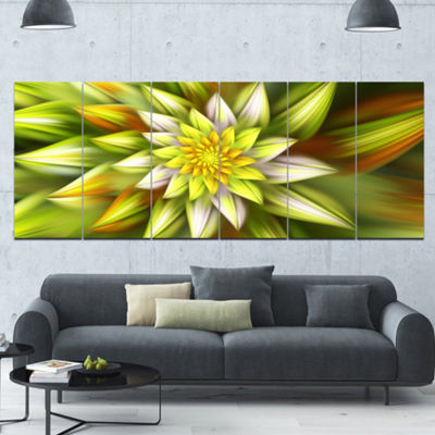 Designart Huge Yellow Fractal Flower Floral CanvasArt Print- 6 Panels
