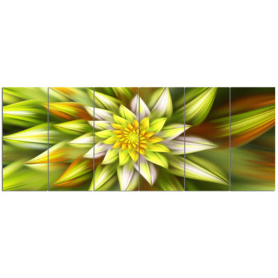 Huge Yellow Fractal Flower Floral Canvas Art Print- 6 Panels