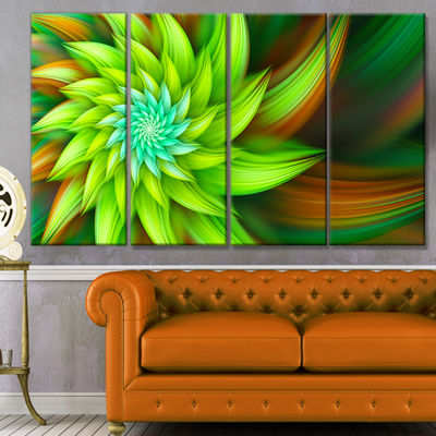 Designart Huge Clear Green Fractal Flower FloralCanvas Art Print - 4 Panels
