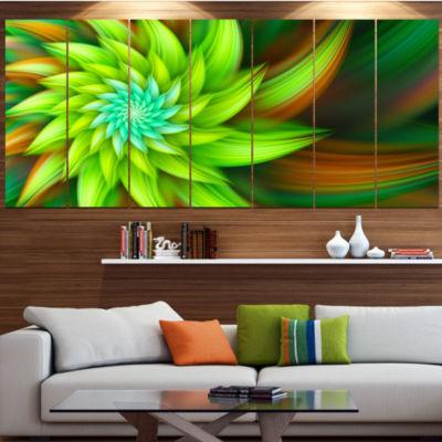 Designart Huge Clear Green Fractal Flower Large Floral Canvas Art Print - 5 Panels