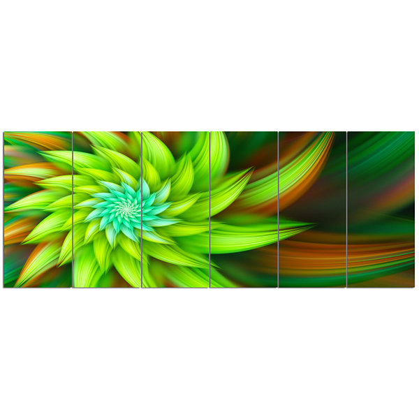 Designart Huge Clear Green Fractal Flower FloralCanvas Art Print - 6 Panels