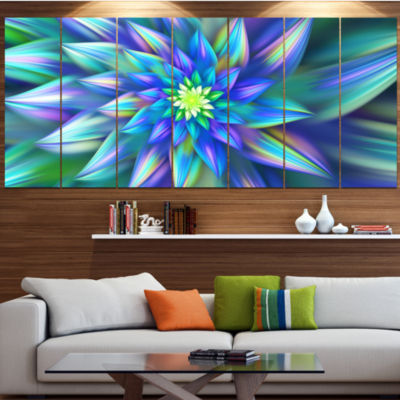 Designart Huge Light Blue Fractal Flower Floral Canvas Art Print - 4 Panels