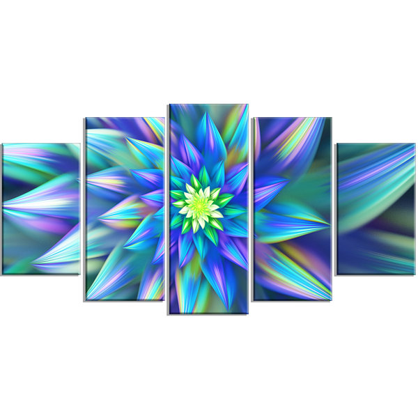 Designart Huge Light Blue Fractal Flower Large Floral Canvas Art Print - 5 Panels
